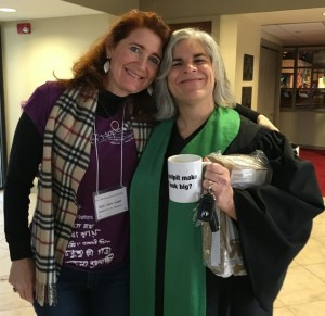 Amy Hunt (Memorial) with Laurie Furr-Vancini (Palms), who preached the message at worship