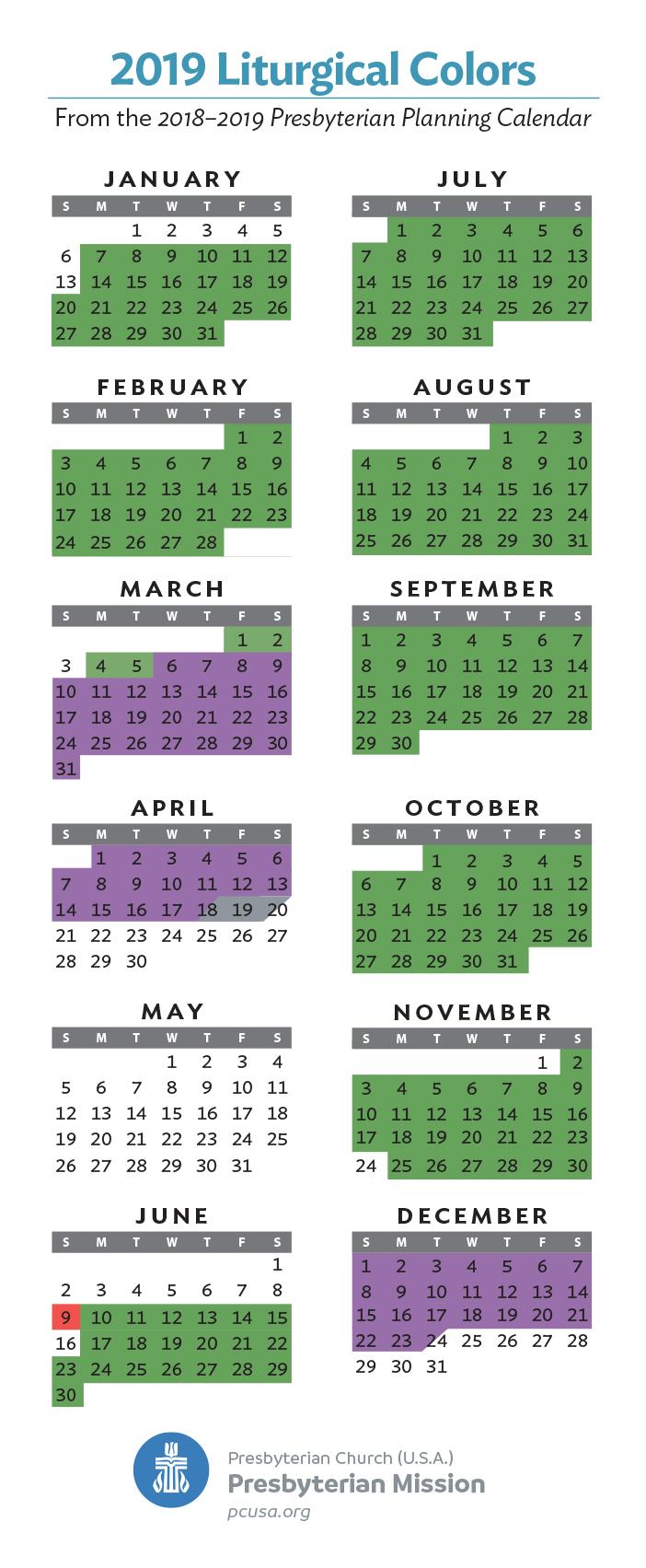 January 7, 2019 Liturgical Calendar 2019 Liturgical Colors   Presbytery of St. Augustine